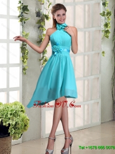 Top Seller Halter Ruching and Hand Made Flowers Dama Dress