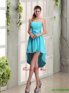 Top Seller Sweetheart A Line Dama Dress with Ruching and Belt
