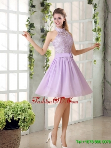 2015 High Neck Lilac A Line Lace Dama Dress Chiffon