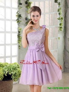 2015 One Shoulder Lilac Dama Dress with Bowknot
