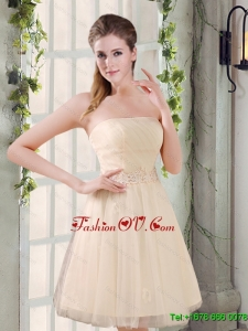 2015 Strapless Appliques New Dama Dress in Champagne