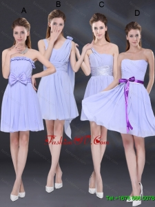 Elegant Chiffon Lace Up Dama Dress in Lavender