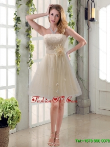 Luxurious Handmade Flower Strapless Lace Dama Dress with Mini Length
