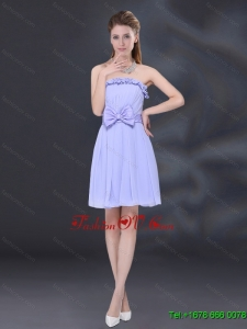 Luxurious Lavender A Line Strapless Dama Dress with Bowknot