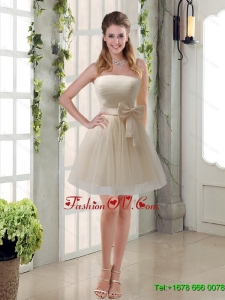 Luxurious Ruching Strapless Princess Dama Dress with Bowknot