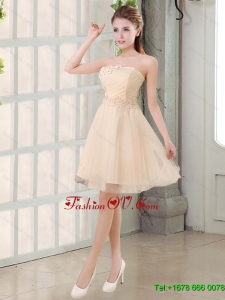 Top Seller Champagne A Line Strapless Appliques Dama Dress