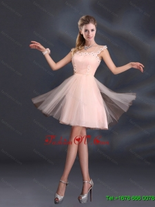 2015 A Line Tulle Sturning Dama Dresses with Straps