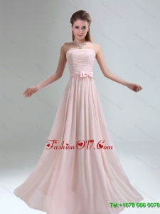 2015 Light Pink Empire Dama Dress with Bowknot belt