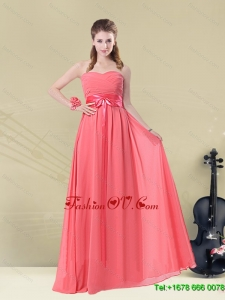 2015 Sweetheart Watermelon Long Dama Dress with Bow Belt