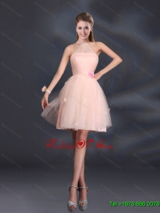 2015 Tulle Appliques Mini Length Dama Dresses with Halter
