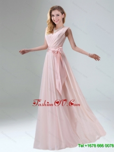 Beautiful Belt Ruching Chiffon Dama Dress with Bowknot