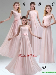 Beautiful Chiffon Light Pink Empire Dama Dress with Ruching