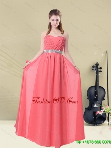 Beautiful Strapless Beaded Dama Dresses Floor Length