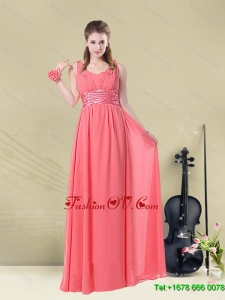 Beautiful Straps Floor Length Dama Dress with Belt