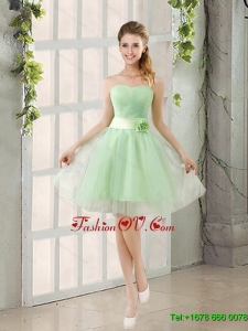 Elegant A Line Sweetheart Lace Up Dama Dress in Apple Green