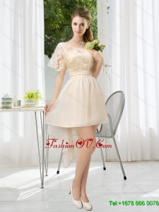 Elegant Lace High Low Short Sleeves Dama Dress with One Shoulder