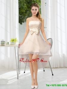 Luxurious Strapless A Line Dama Dress with Belt and Lace