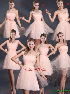 New Arrival Baby Pink Mini Length Dama Dresses