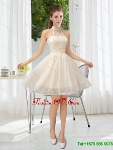 New Arrival Halter Appliques Lace Up Dama Dress in Champagne