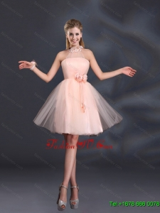 New Arrival Halter Hand Made Flowers Dama Dresses with Mini Length