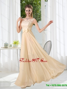 2015 Halter Empire Dama Dress with Lace