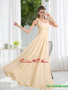 2015 Modest V Neck Empire Ruching Dama Dress
