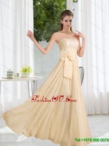 2015 Strapless Empire Bowknot Lace Dama Dress