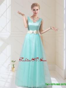 Delicate V Neck Floor Length Dama Dresses with Bowknot for 2015