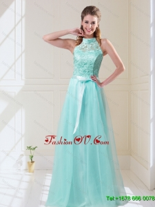Elegant Empire Halter Top Laced Mint Dama Dresses with Sash