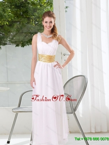 New Style White Empire Straps Ruching Dama Dresses