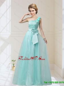 2015 One Shoulder prom Dresses with Hand Made Flowers and Bowknot