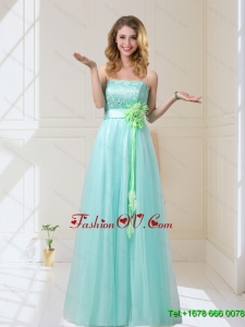 Sturning 2015 Empire Strapless prom Dresses with Hand Made Flowers