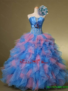 2015 Beautiful Strapless Quinceanera Dresses with Hand Made Flowers and Beading