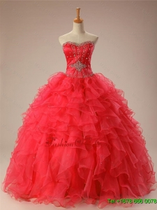 2015 Classical Sweetheart Beaded Quinceanera Dresses with Ruffles