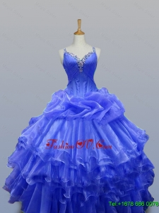 2015 Custom Made Quinceanera Dresses with Beading in Organza