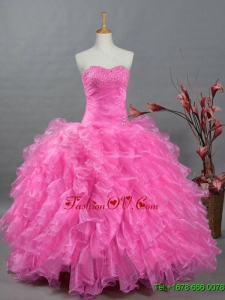 2015 Custom Made Quinceanera Dresses with Sweetheart in Organza