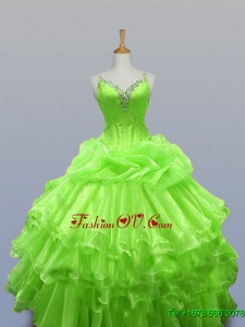 2015 Custom Made Straps Quinceanera Dresses with Ruffled Layers