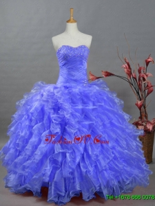 2015 Custom Made Sweetheart Dresses for Quinceanera with Beading and Ruffles