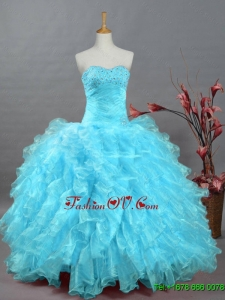 2015 Wonderful Beading Aqua Blue Custom Made Quinceanera Dresses in Organza