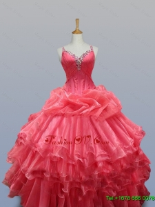 Beading and Ruffled Layers Straps Custom Made Quinceanera Dresses for 2015