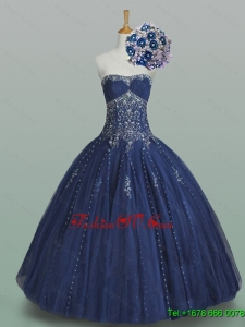 Custom Made Ball Gown Strapless Beaded Quinceanera Dresses in Navy Blue