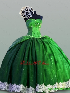 Custom Made Laced Sweetheart Green Quinceanera Dresses for 2015 Summer