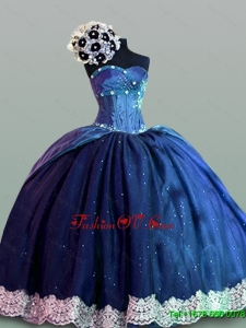 Custom Made Quinceanera Dresses with Lace in Navy Blue for 2015