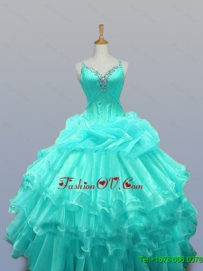 Custom Made Straps Quinceanera Dresses with Beading and Ruffled Layers