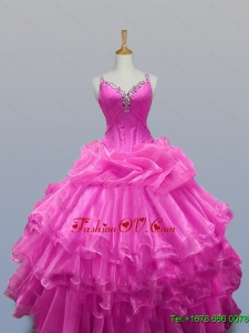Custom Made Straps Quinceanera Dresses with Beading and Ruffled Layers for 2015