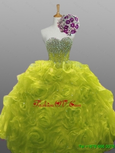 2015 Custom Made Beaded Quinceanera Dresses with Rolling Flowers
