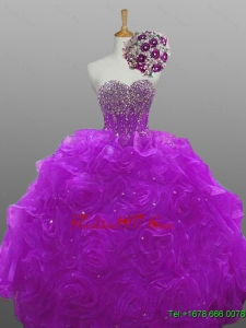 2015 Custom Made Quinceanera Dresses with Beading and Rolling Flowers