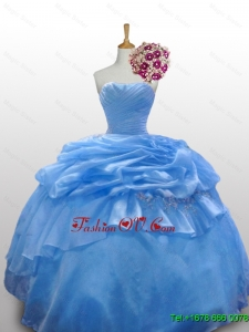 2015 Custom Made Strapless Quinceanera Dresses with Paillette and Ruffled Layers