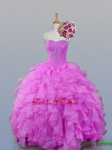 2015 Custom Made Sweetheart Beaded Quinceanera Dresses with Ruffles