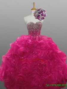 Beading and Rolling Flowers Sweetheart Custom Made Quinceanera Dresses for 2015
